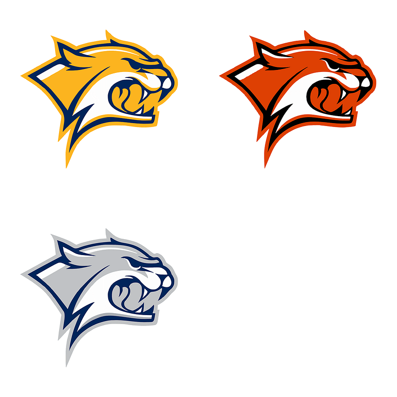 Set of logo mascots with wild cat in yellow, orange and grey.