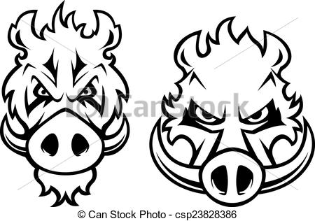 Vector of Angry wild boar heads character.