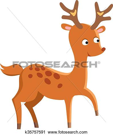 Clipart of Cute deer cartoon running wild character vector.