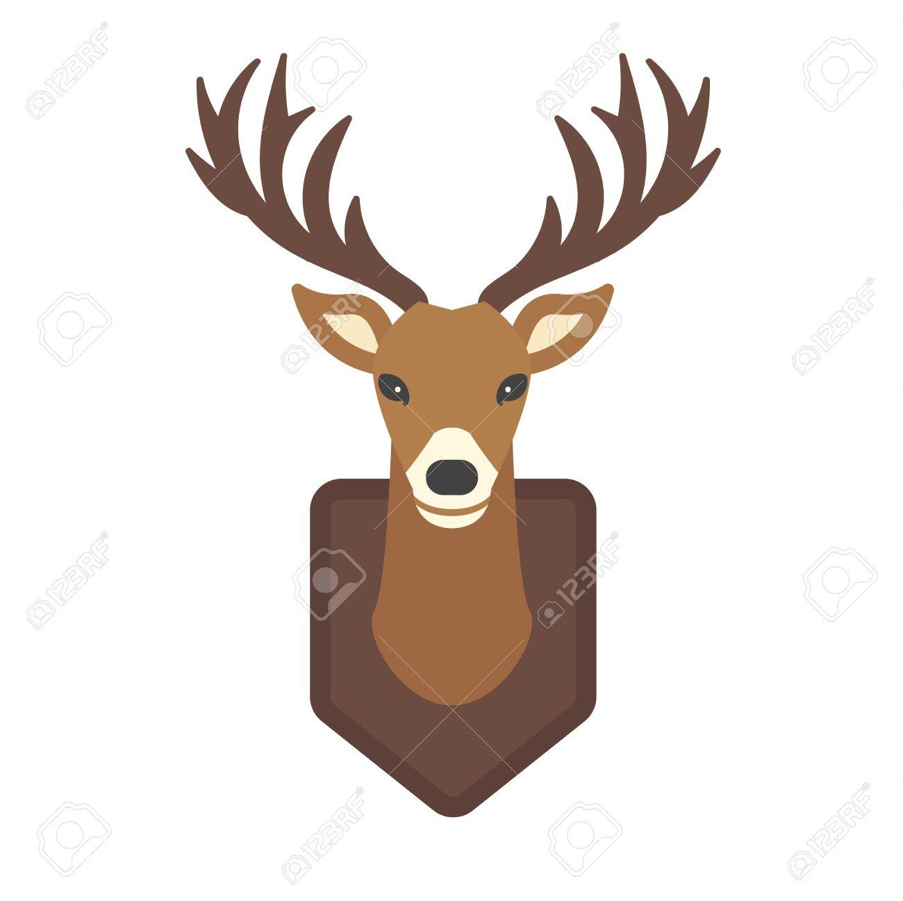 Cute Deer Cartoon Head Wild Character. Wild Mammal Cartoon Deer.