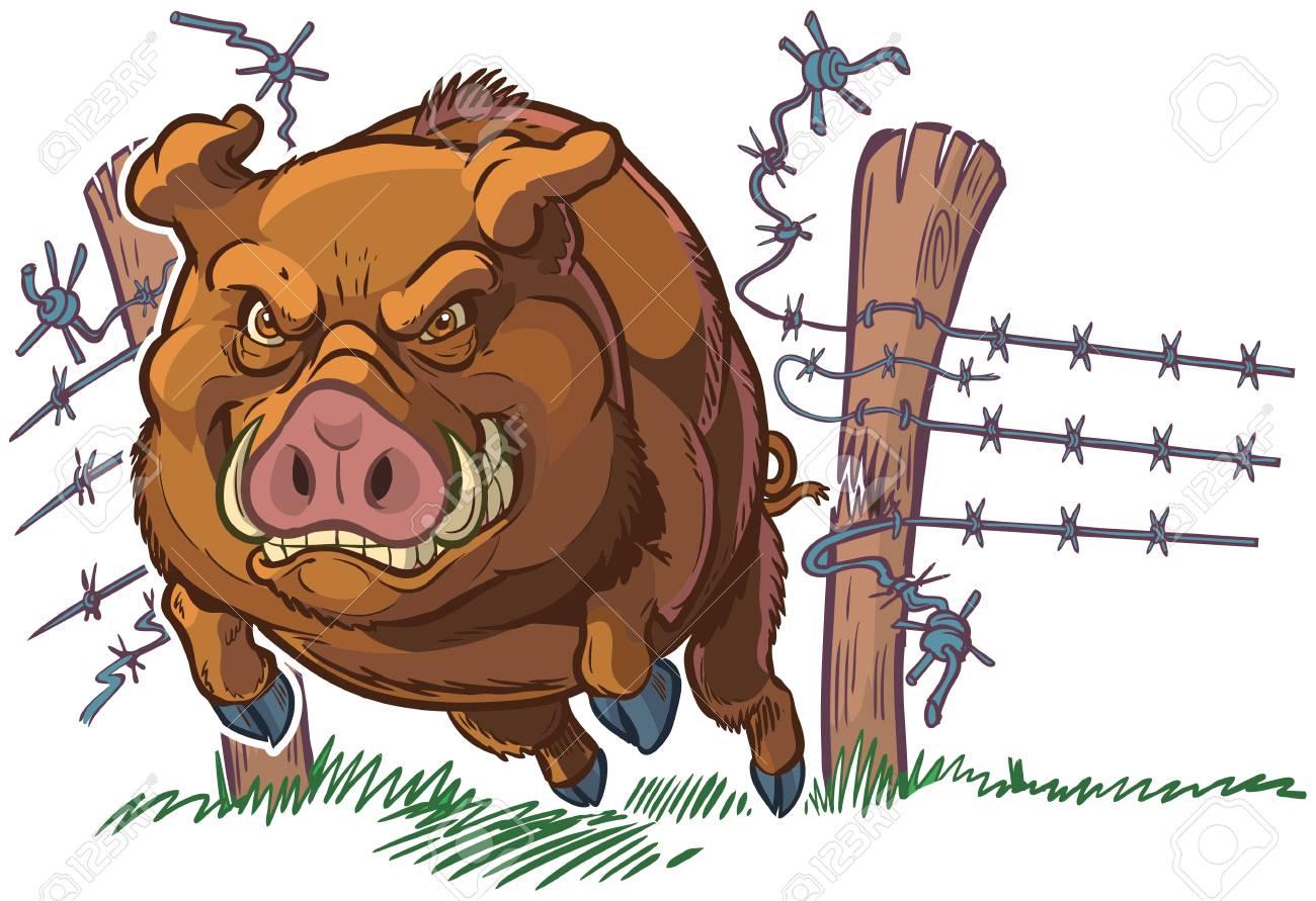 Vector cartoon clip art illustration of a tough and mean pig...