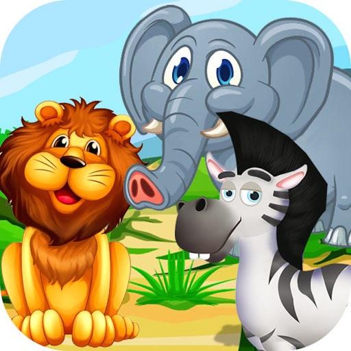 Jungle Safari Adventure Animal & Crazy Little Girl & Boy Care.
