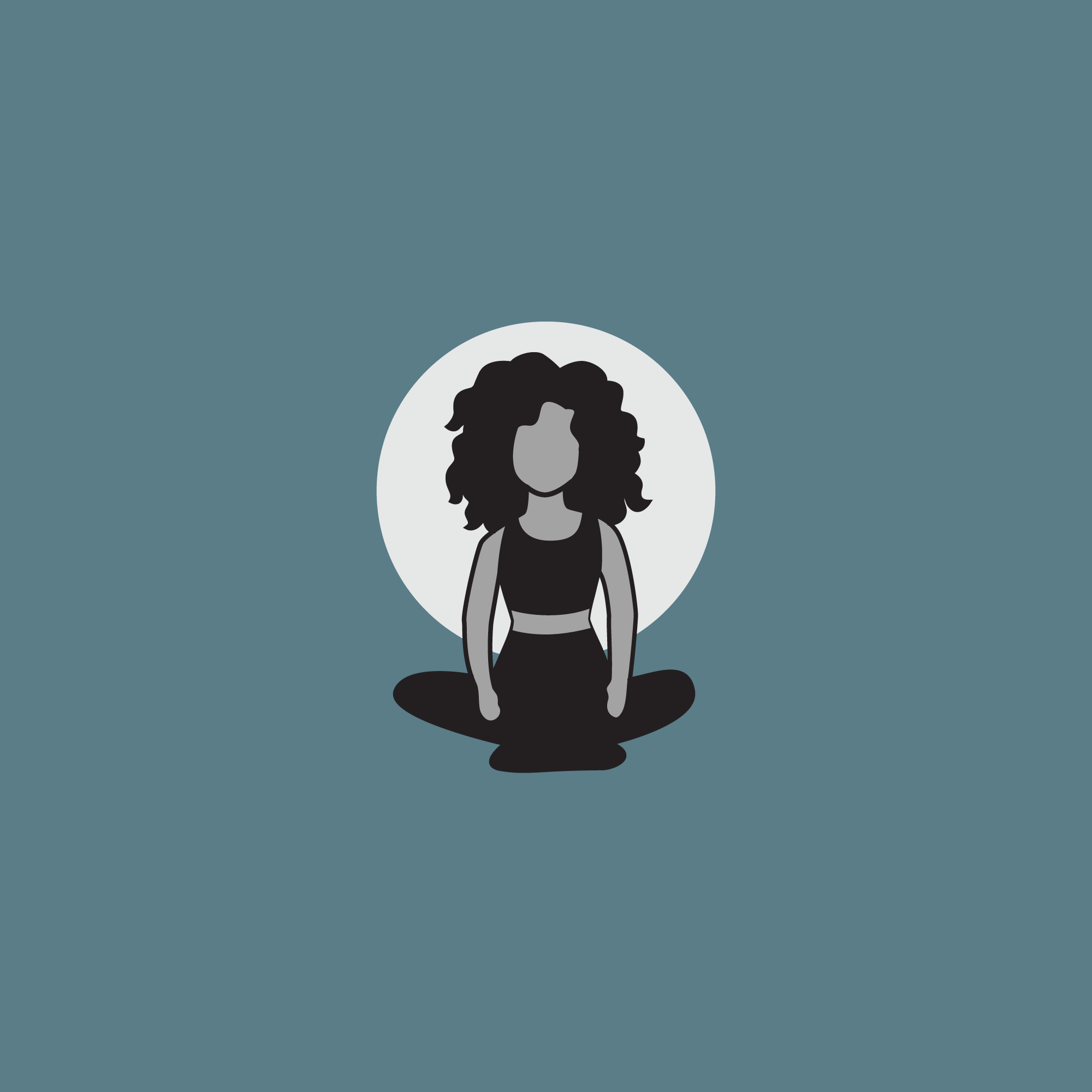 Custom icon design of a woman with wild, curly hair. She is.