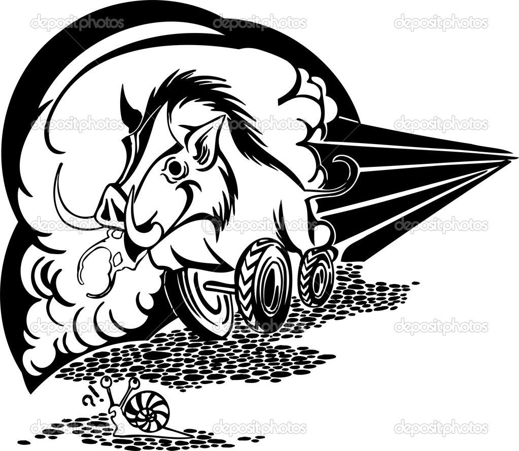 Wild boar on wheels. Vector illustration. — Stock Vector © Digital.