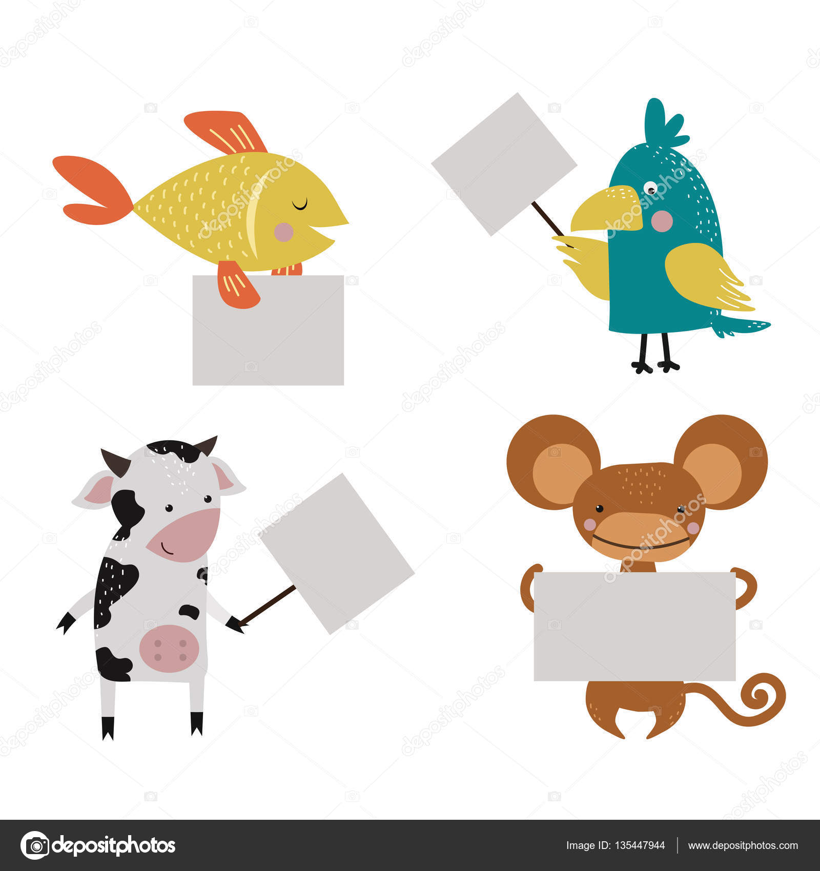 Wild animal zoo strike with clean plate board vector. — Stock.