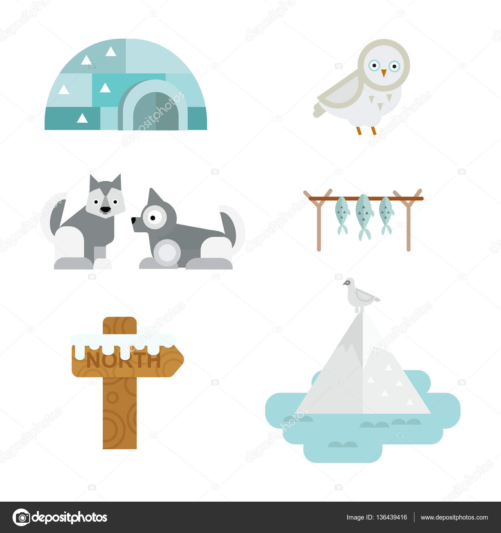 Wild north arctic symbols vector. — Stock Vector © luplupme.gmail.