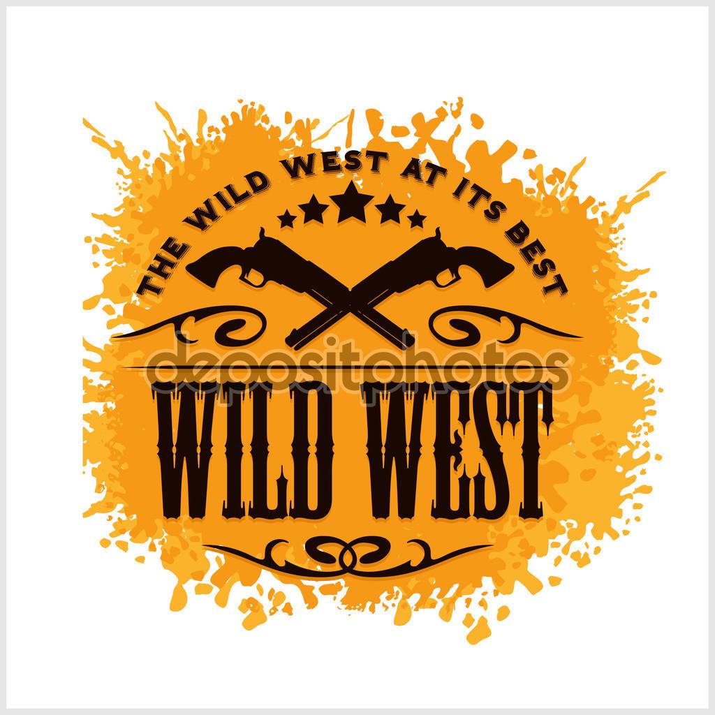 Wild west, vintage vector artwork for boy wear, on grunge.