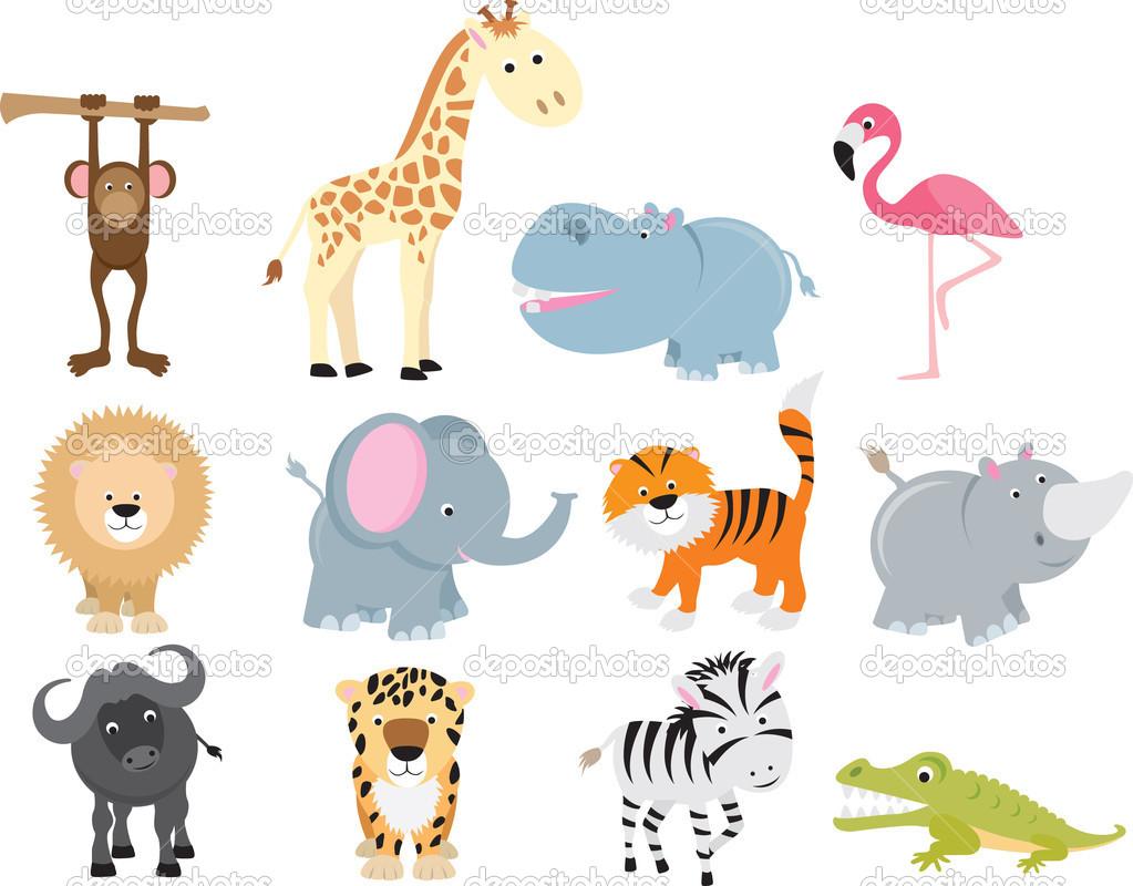 Cute wild safari animal cartoon set — Stock Vector © Joingate #4092086.