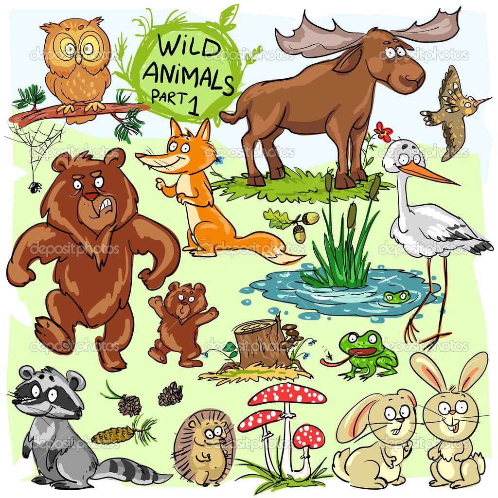 Wild animals — Stock Vector © nataliahubbert #43419831.