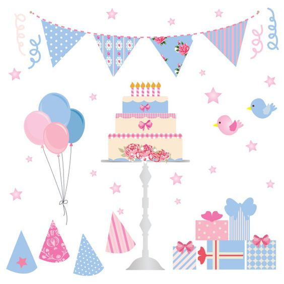 FREE COMMERICAL use 40% Off Birthday Party Clip Art. Blue Shabby.