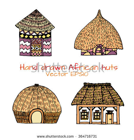 African Hut Stock Images, Royalty.