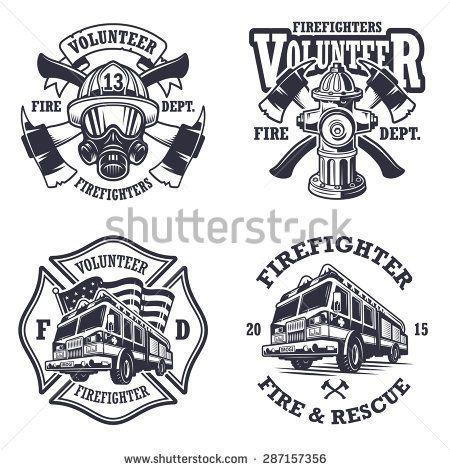 Set of firefighter emblems, labels, badges and logos on.