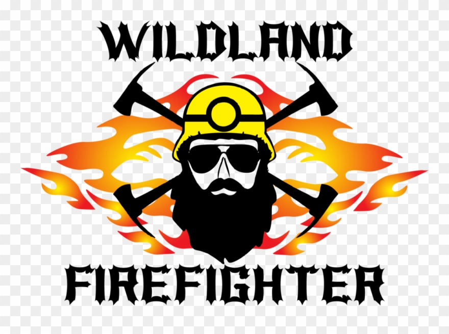 Wildland Firefighter With Beard And Sunglasses Flames.