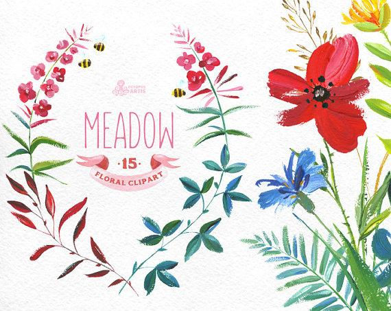 Meadow Clipart. 15 Handpainted Wreaths, Bouquets, Borders, Ribbon.