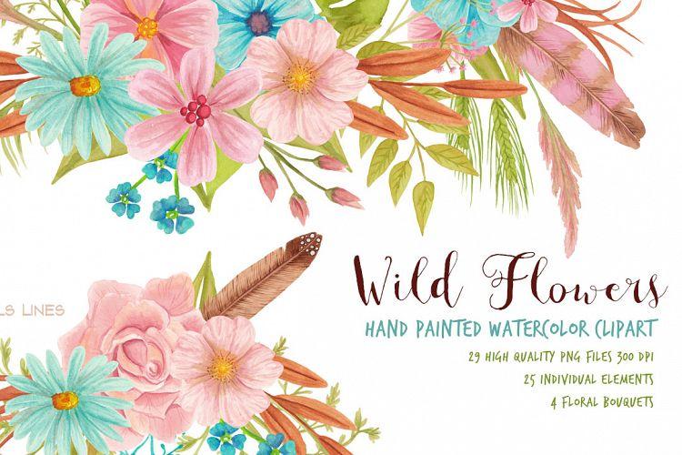 Wild Flowers Meadow Set Watercolor Clip.
