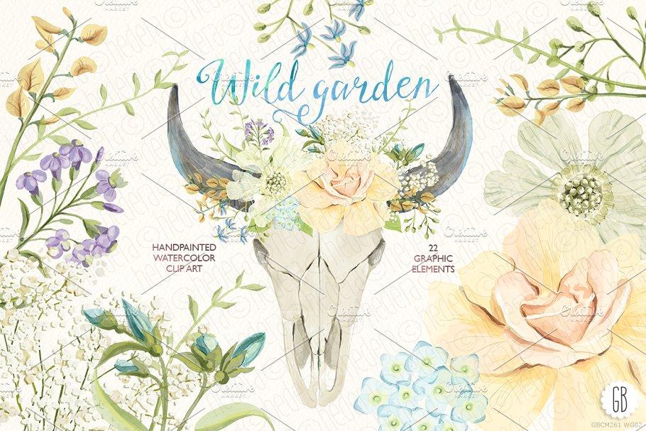 Watercolor wild garden bull skull ~ Illustrations ~ Creative.