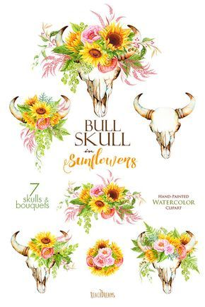Sunflowers Watercolor Bull Skull with Floral Bouquets.