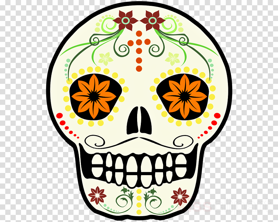 yellow bone skull wildflower clipart.