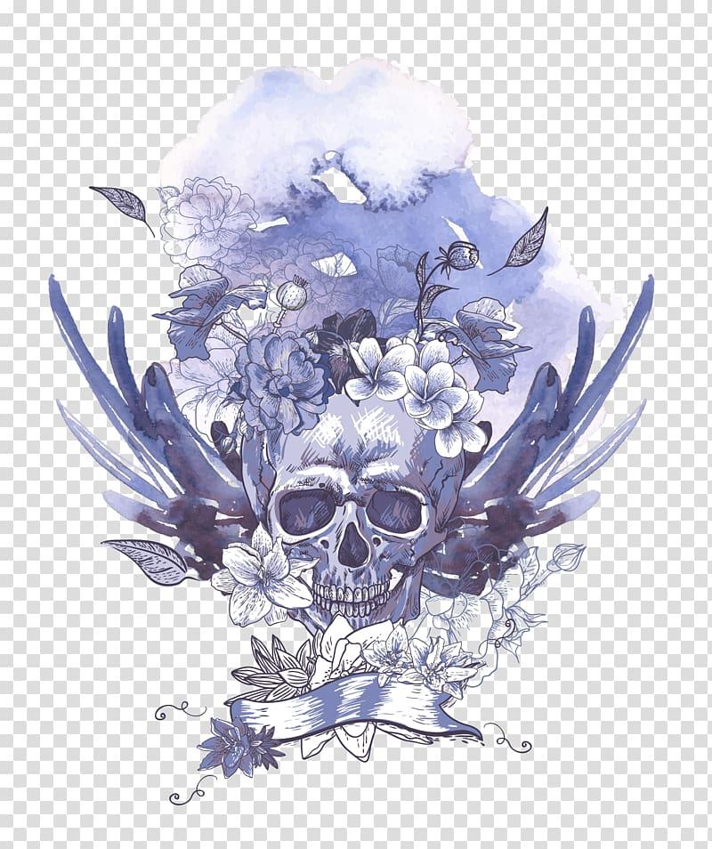Gray skull , Human skull symbolism , Light blue skull.