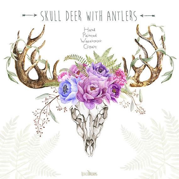 Skull Deer With Antlers. Hand Painted Horns, Fern, Peony.
