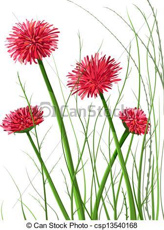 Clip Art Vector of Beautiful Wild Flowers Illustration.