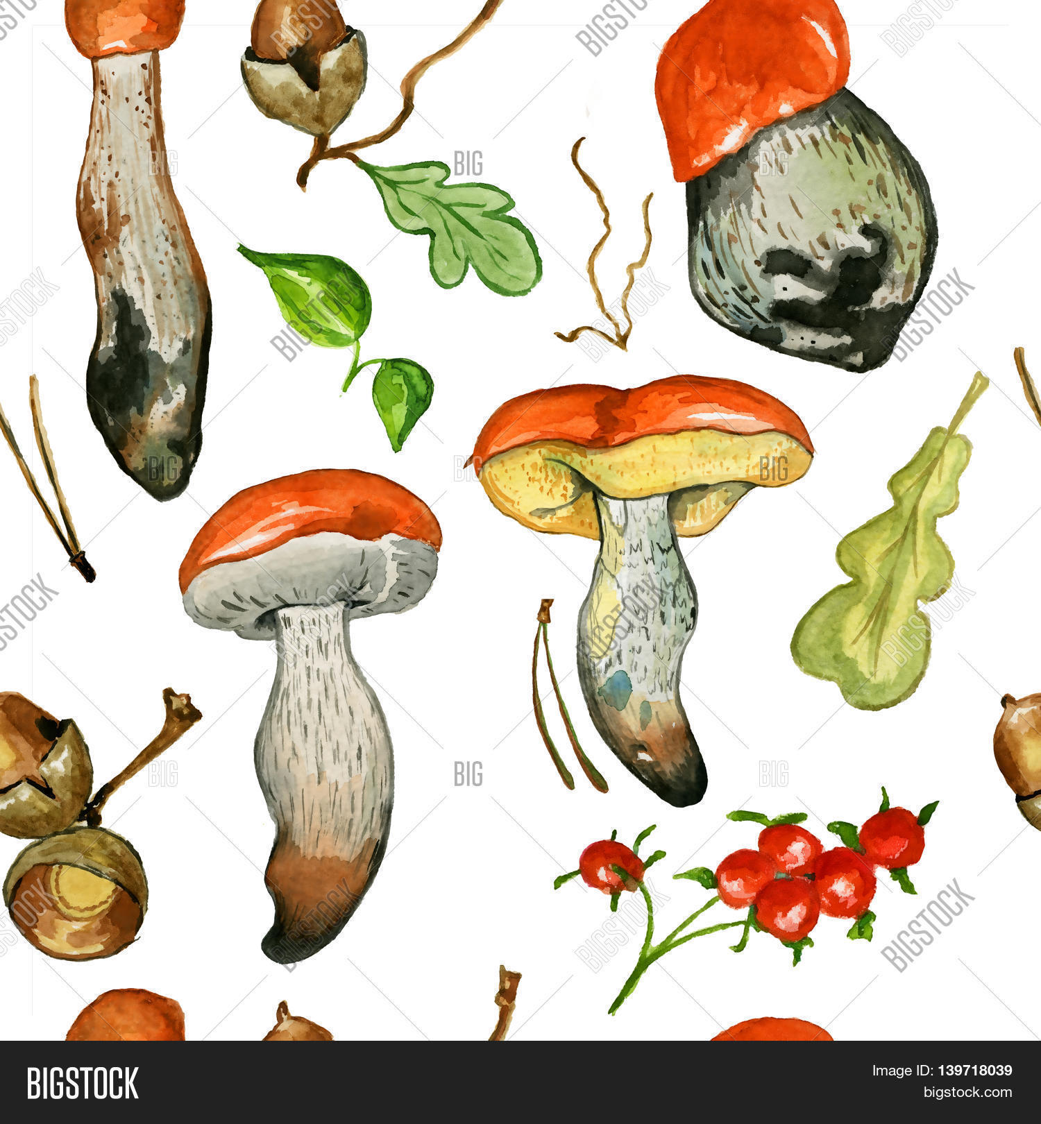 Seamless pattern with wild mushrooms. Hand drawn watercolor.