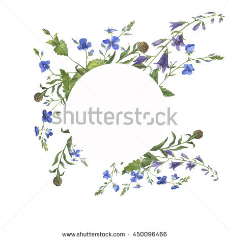 Floral Forgetmenot Flower Round Frame Watercolor Stock.