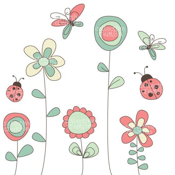 Wild Garden Clipart set.