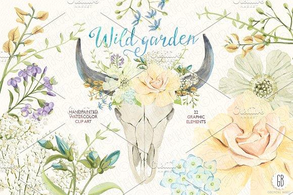 Watercolor wild garden bull skull ~ Illustrations on Creative Market.
