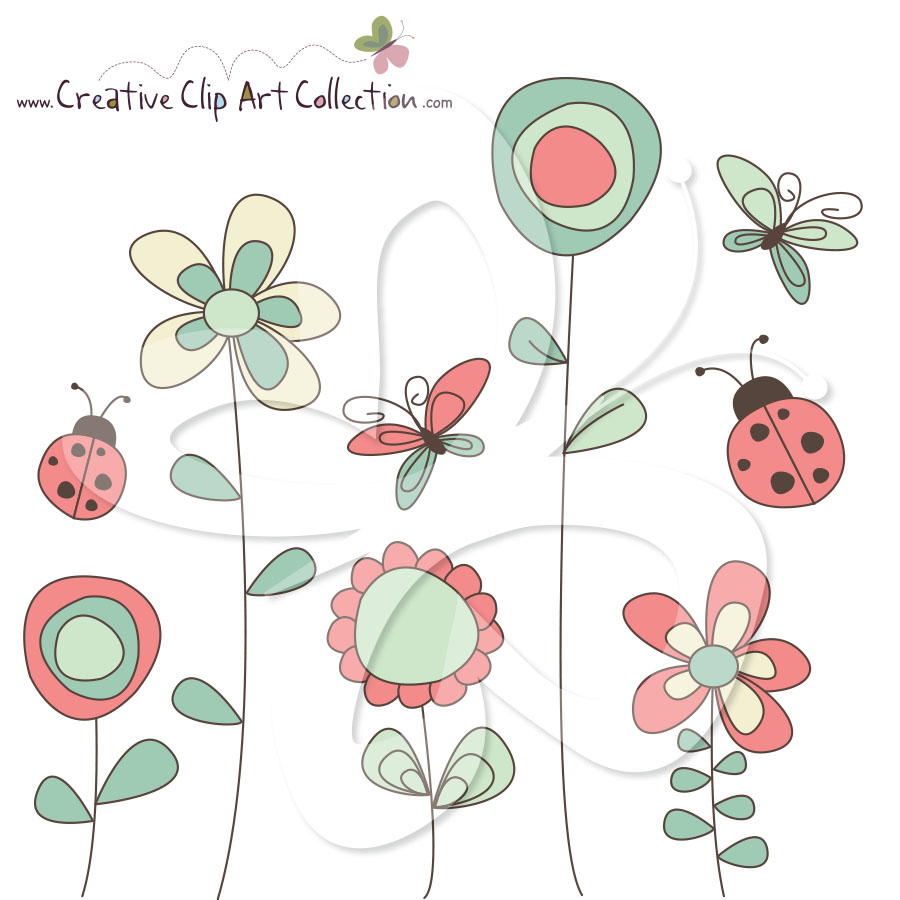 Wild Garden Digital Clip Art Set.