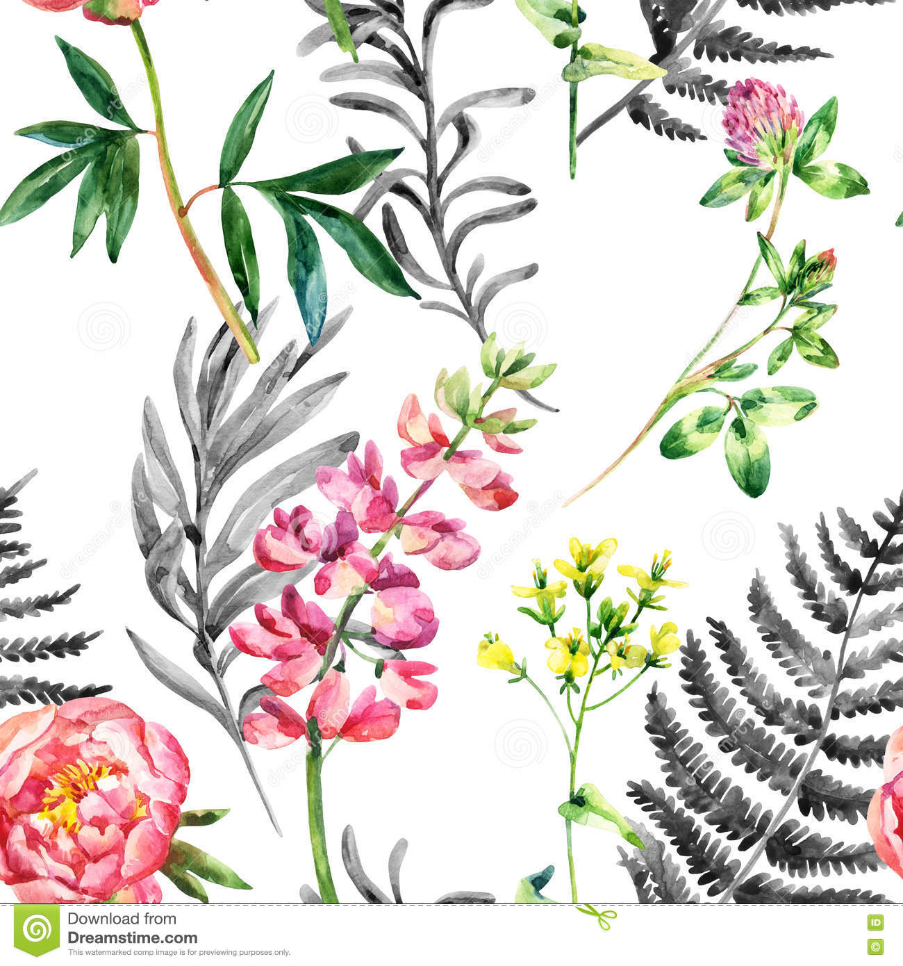 Watercolor Wild Garden Flowers Seamless Pattern. Stock.