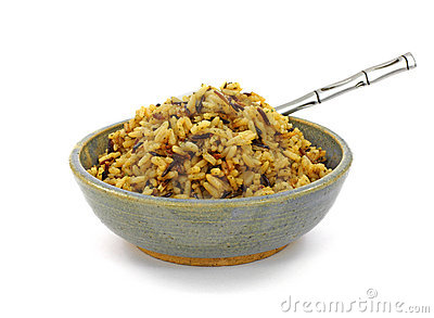 Close View Cooked Long Grain Wild Rice Royalty Free Stock Photos.