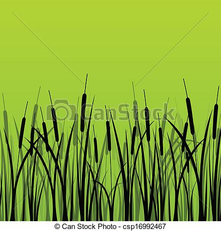 Clip Art Vector of Grass, reed and wild plants detailed.