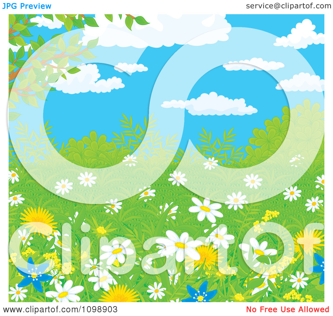 Clipart Wild Daisies And Dandelion Flowers In Spring Growth Under.