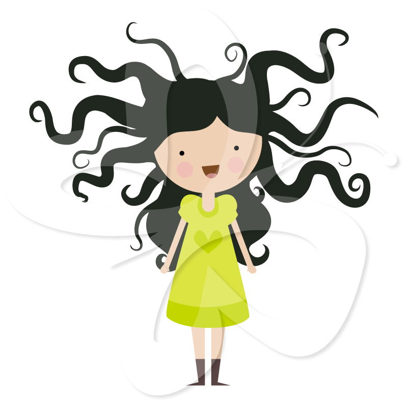 Wild Hair Clipart. Crazy Hair Art.