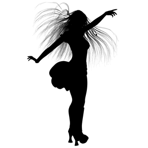 Wild Hair Woman Silhouette clipart, cliparts of Wild Hair.