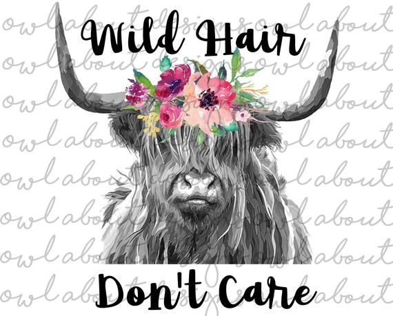 Wild Hair Don\'t Care Digital Download. Digital Art. Clipart.
