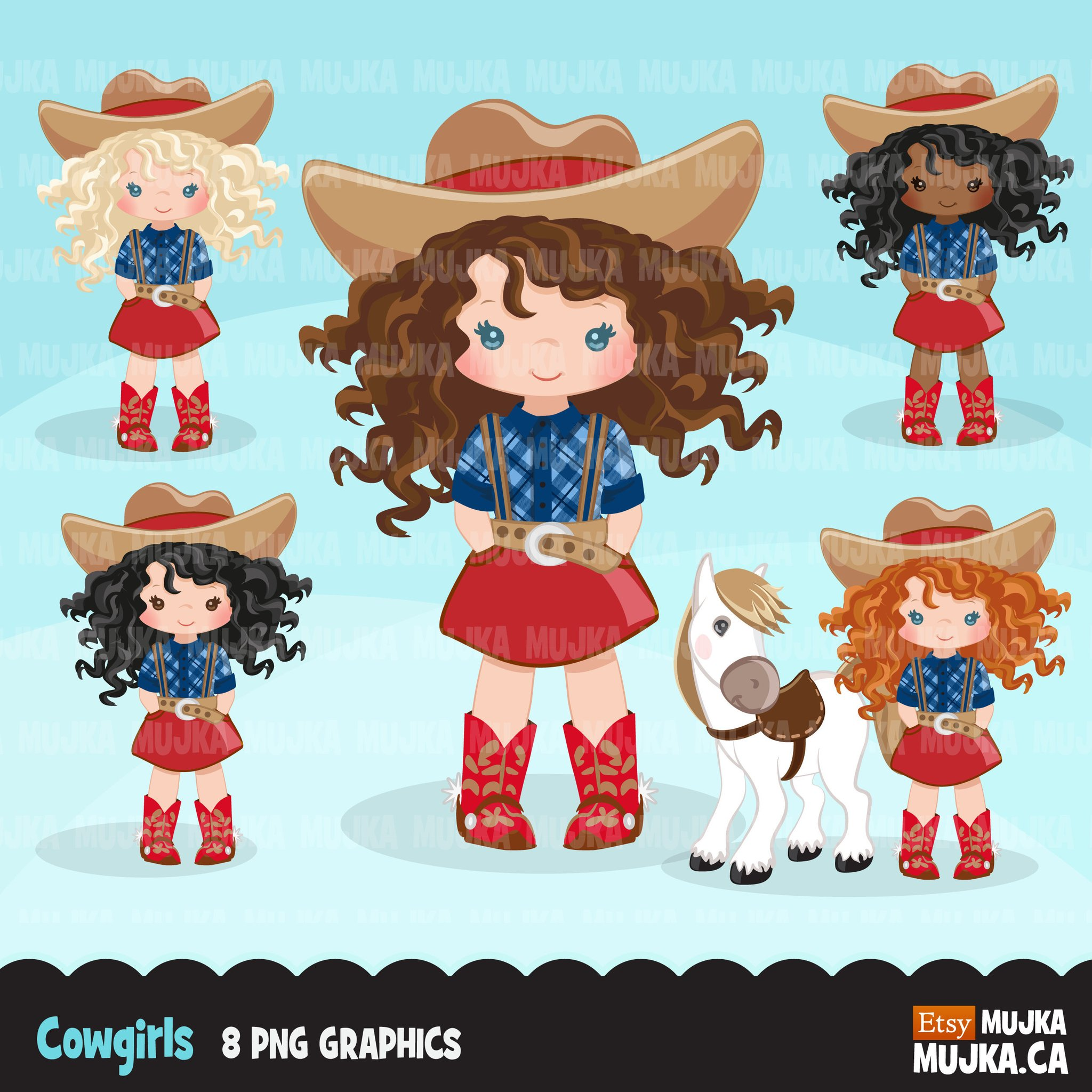 Cowgirls with curly hair and horse clipart, farmer.