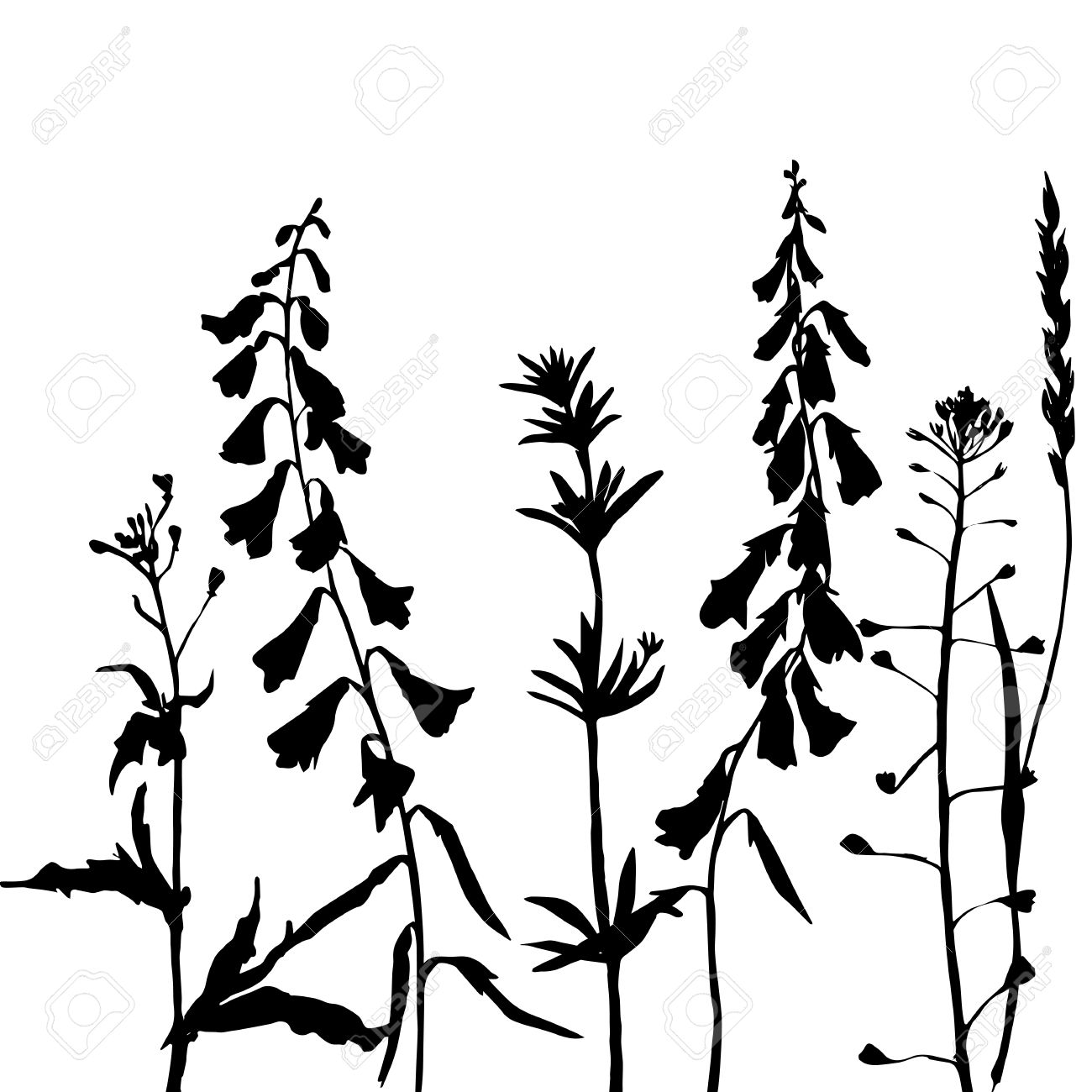 Herb leaf silhouette clipart.