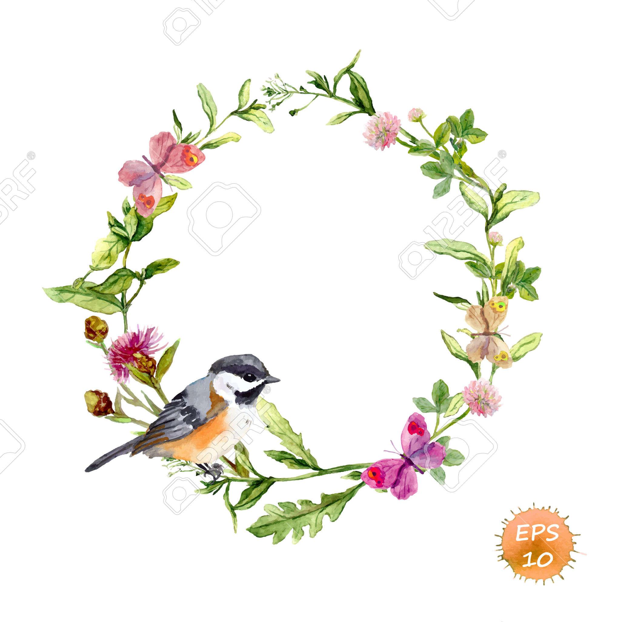 Wreath Border Frame With Wild Herbs, Meadow Flowers, Butterflies.