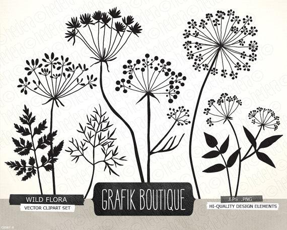Wild Herbs Flowers silhouette vector clip art, card, label, diy.