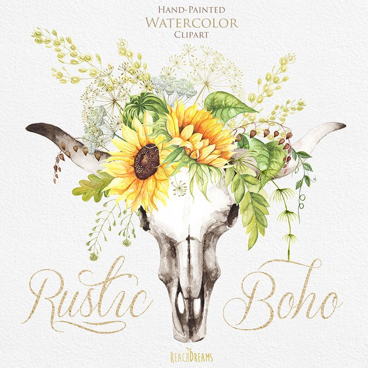 Watercolor Boho Bull Skull with Sunflower Bouquet with Wild Herbs.