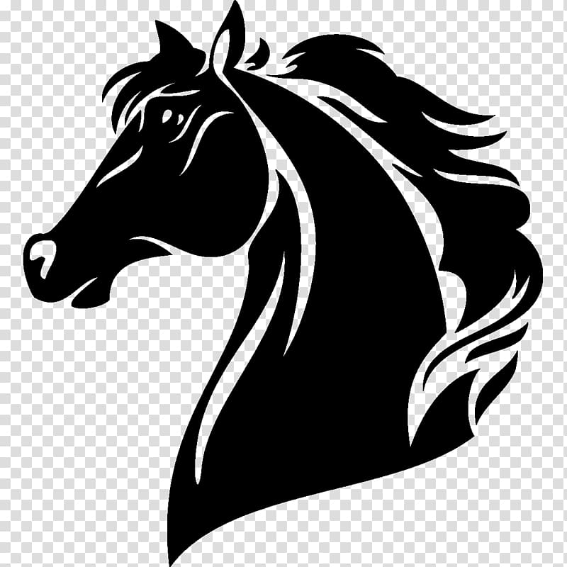 Horse Logo, tribal elements transparent background PNG.