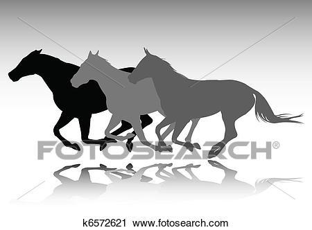 Wild horses running Clipart.
