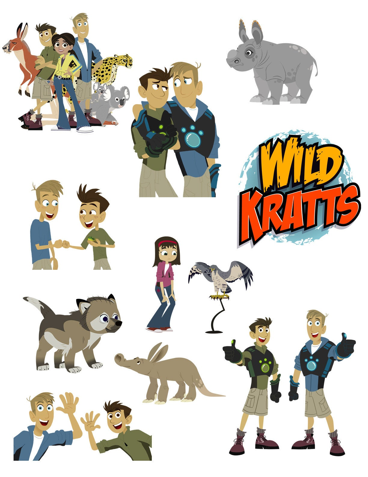 Wild Kratts Printouts INSTANT DOWNLOAD Clipart Imags Cutouts Printable  Centerpieces Decorations Animals Chris Martin Jungle Birthday Gift.