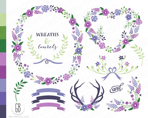 Floral wreath laurels ribbons clip art wild by GrafikBoutique.
