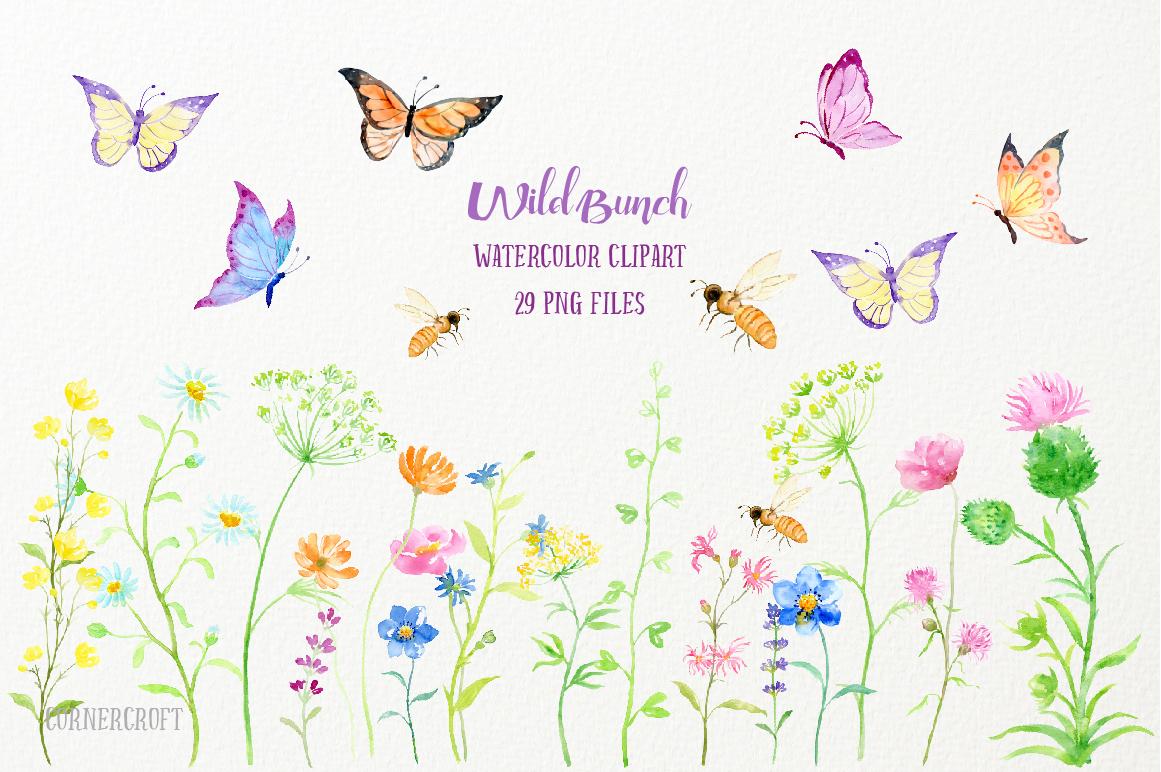 Watercolor Clip Art Wild Bunch by Cornercroft.