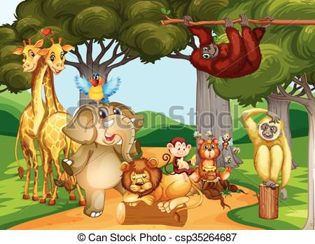 Vector of Wild animals living in the forest illustration.