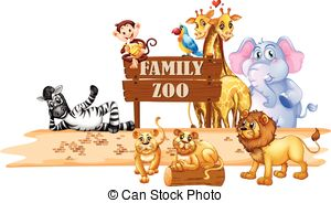 Vector Clip Art of Wild animals living in the jungle illustration.