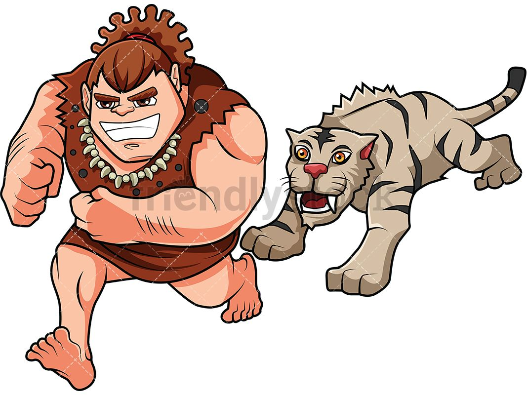 Caveman Getting Chased By Smilodon.